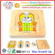 Hot Sale Kindergarten Educational Toy Man Growth Up Kids Puzzle en bois