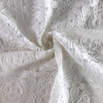 Nylon Cotton Lace Fabric Floded Garn