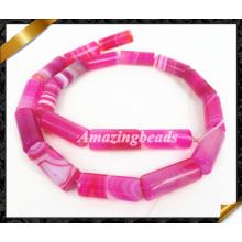 Естественные розовые агатовые гладкие бусины, полосатые драгоценные камни из бисера агата (AG022)