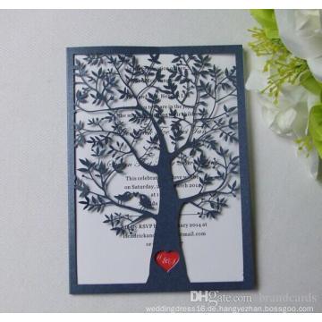Liebes-Baum-Laser-Schnitt-hohle nach Maß Papier-Karten-Einladungs-Karte für Hochzeits-Party-Versorgungsmaterial-Karte ML279
