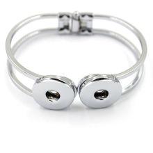 Vente en gros Silver Copper Charm Jewelry Bracelet à bouton-pression