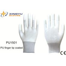 Guante de trabajo de seguridad recubierto con punta de dedo PU (PU1501)