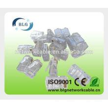 Aplicação de rede e conector masculino rj45 de sexo masculino