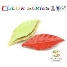 Ceramic colorful natural leaf sushi plates for restaurant