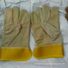 Popular Safety Patched Palm Cow Split Leather Worker Gloves