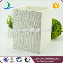 White embossed square ceramic decorative trash can for home