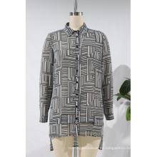 Blusa de manga larga estampada regular de gasa para mujer