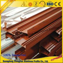 Grano de madera de la capa del polvo del perfil de la protuberancia de aluminio para el perfil de la ventana