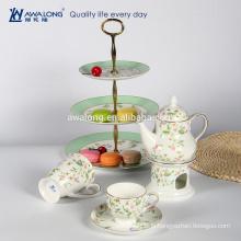 Plain Blumenmuster Knochen Porzellan Kaffeetasse gesetzt Grace High Tea Set