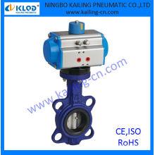 Válvulas de mariposa neumáticas, actuador accionado, junta PTFE, aire, agua, gas, aceite, vapor