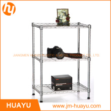 3 Tiers Powder Coated/Chrome Wire Display Stand Shelving Rack
