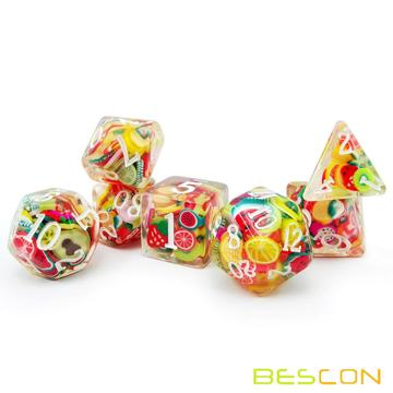 Bescon Fruit Polyhedral Dice Set, Novelty RPG Dice set of 7