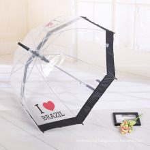 A17 straight transparent clear apollo umbrella with Printing Logo