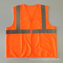 Laranja fluorescente de alta qualidade ANSI 107 malha colete reflexivo zipper fechamento com bolsos