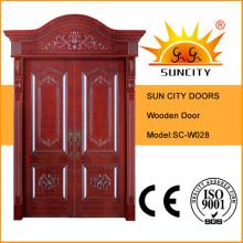 Porte en bois d'entrée en bois Royal Crown (SC-W028)