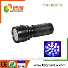 Hot Sale Détecteur de Scorpion OEM de haute qualité Purple Light 3 * aaa Opéré 16Led Lampe de poche UV ultraviolet pour contrefaçon