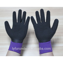 13 gauge nylon gloves coated with foam latex on palm,wrinkle finish