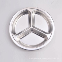 wholesale stainless steel 3 section fast food divided tray round dinner plate
