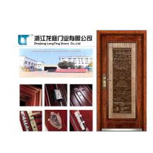 Lujosa puerta exterior de madera moderna de acero