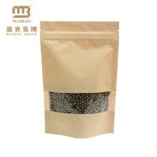 Высушенная еда упаковка крафт-бумага сумка вверх мешки с зазубриной ziplock и разрыва