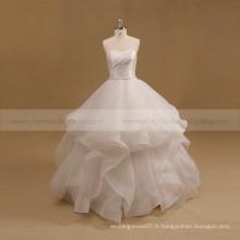 Lovely Sweet Heart Bracelet plissé en organza Robe de mariée Robe de mariée en perles en perles