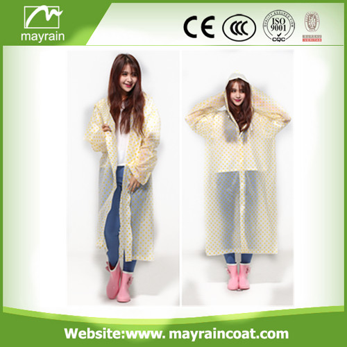 PVC Raincoat with Blue Dots