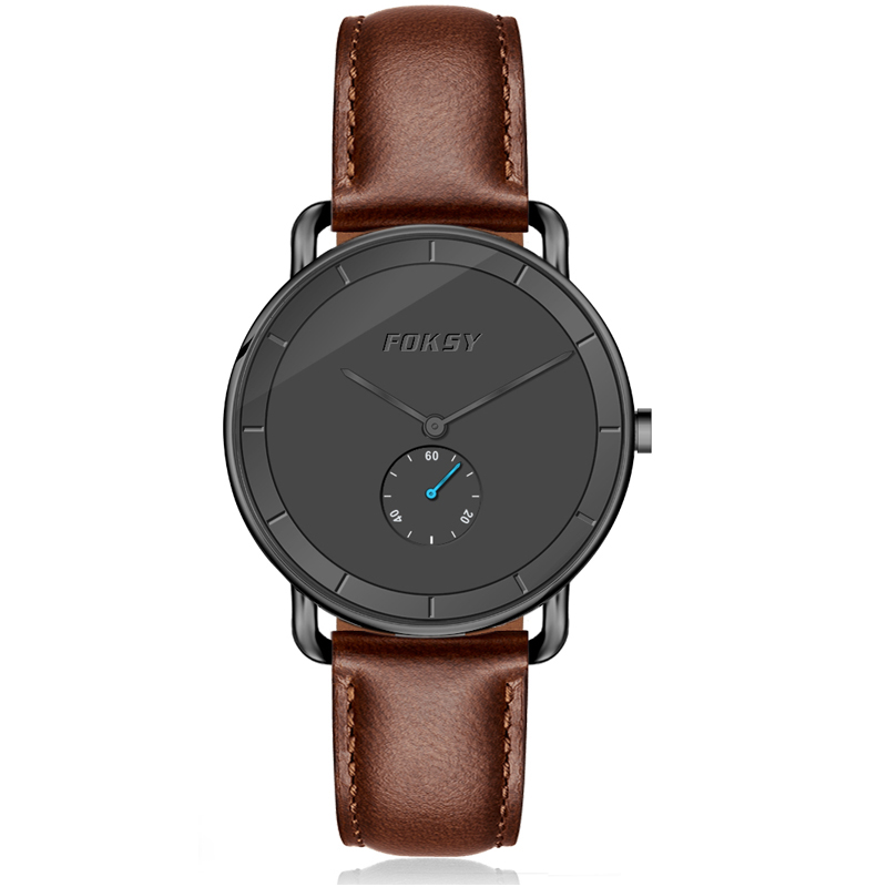 Trendy Winding Lug Genuine Leather Band Minimalist Quartz Watch