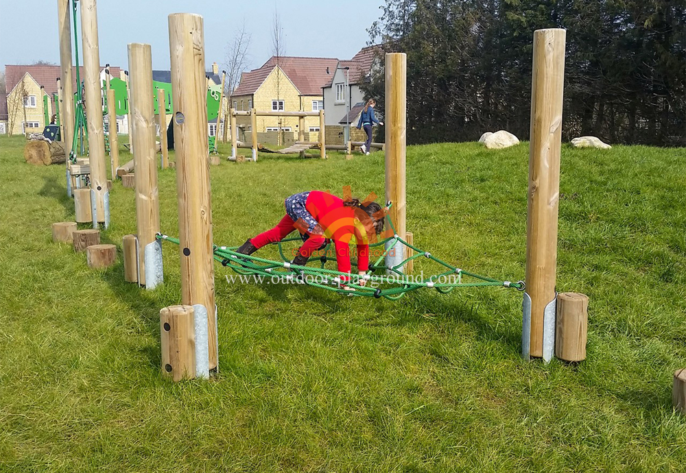 climbing net frame on park for kids
