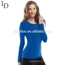 Camiseta de manga larga apretada atractiva llana barata al por mayor barata de las mujeres de la manga para el uniforme