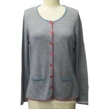 Mujer de punto con bolsillo de manga larga Cardigan suéter