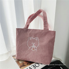 Custom Corduroy Women Tote Bags Casual tote bag corduroy cloth shopping bag