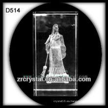 Cubo de cristal cristalino del grabado del laser del cristal 3d