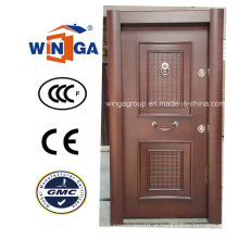Turquia Porta de madeira de aço de segurança de luxo de aço inoxidável blindada (W-T33)