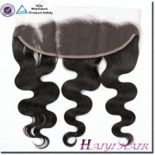 Haute Qualité 100% cambodgienne cheveux humains vague de corps blanchis noeuds oreille à l'oreille dentelle frontale 13 * 4 avec des cheveux de bébé