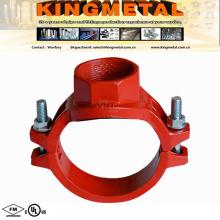 "FM/UL 6"" X3"" Ductile Iron Threaded Mechanical Tee Fire Protection."