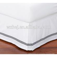 bedskirts brancos do bordado da tabela 300TC do algodão do hotel