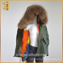 Top High Quality Long Style Brand Faux Winter Fox Fur Parka for Women