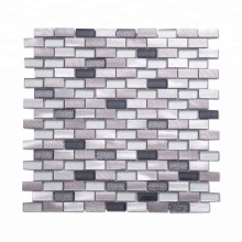 Soulscrafts Glass Mixed Aluminum Metal Brick Mosaic for Backsplash