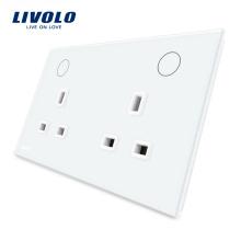 Стеклянная панель Livolo Электроэнергия 13А Двойная розетка UK VL-W2C2UK-11