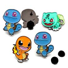 Wholesale cheap metal black nickel plated anime badge cute cartoon turtle dragon lapel custom soft enamel pin in stock no moq