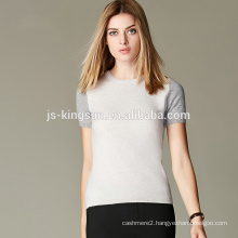 JS-12002 Fancy spring short sleeve knitted 100% Cashmere tops