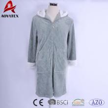 Hot selling ultrasonic quilting flannel fleece women zipper bathrobe with sherpa hooded