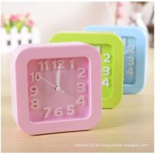Reloj digital cuadrado promocional, reloj de escritorio de color caramelo para estudiantes perezoso