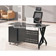 Mesa de escritório de quadro de aço inoxidável superior de vidro