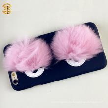 Real Fox Fur Monster Ojos Cubierta de la caja del teléfono móvil para Apple Iphone