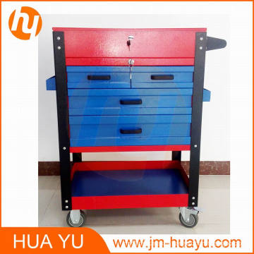 Powder Coated 4 Drawers Lockable Workbench Movable Garage Tool Cabinet