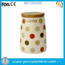 Пользовательские печати декоративных уникальный керамический кофе банку с крышкой бамбука