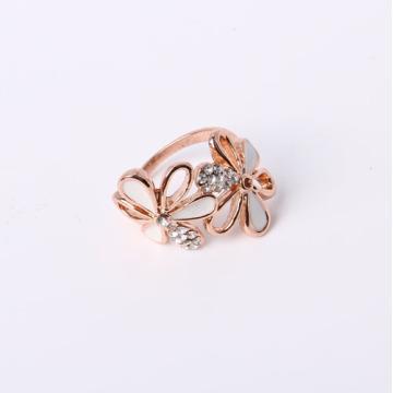 Flower Design Fashion Ring mit Strass und Epoxy