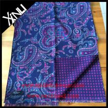 Paisley geométrica reversible bufanda impresa para hombres en azul rosa personalizada bufanda de los hombres