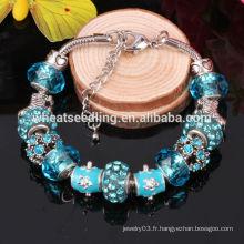 Cadeau de nouvelle année Bracelet de charme européen 2016 Bijoux de perles de verre DIY pour filles